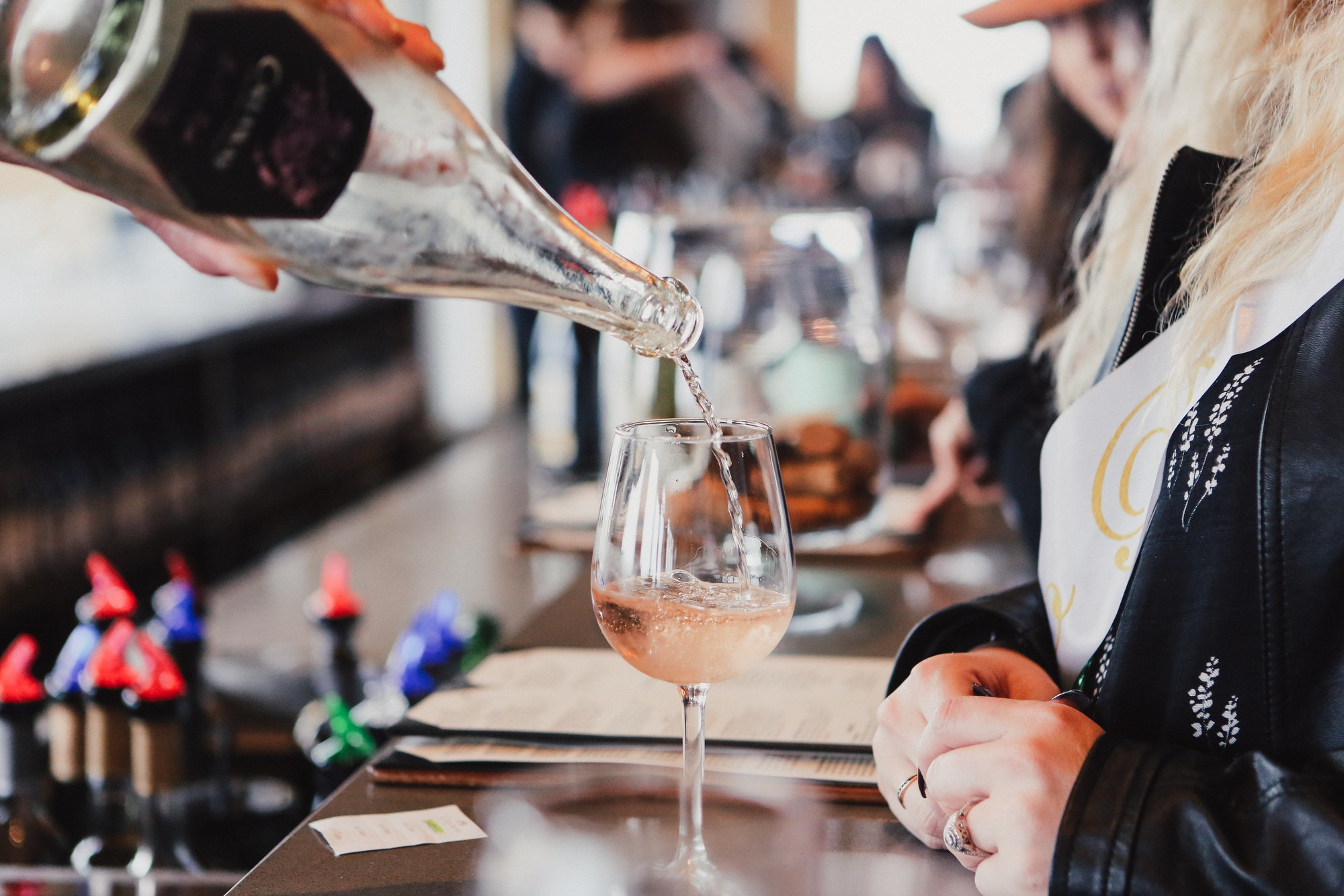Pouring wine for wine tasting